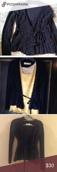 Anthropologie sweater--1 hour sale Super cute navy blue sparrow sweater from anthropologie size medium. Waist tie Anthropologie Sweaters