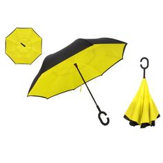 Double Layer Inverted Inverted Umbrella Is Light And Sturdy Rainbow Stripes Flying Colorful Dots On Reverse Umbrella And Windproof Umbrella Edge Nigh