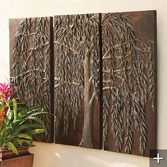 Willow Tree Triptych  The three panels are bronze finished and have the grey-greenish willow attached to it in 3D images.  They are made of fiber glass and resin and are very resistant to any kinds of weather, which makes them appropriate for outdoor display, too.  Front Gate, $299