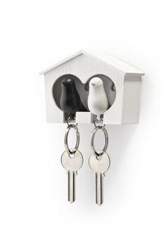 Porte clés Duo d'oiseaux Noir