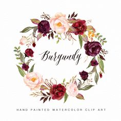 Watercolor flower wreath clipart-Burgundy/Hand Painted/Wedding design by GraphicSafari on Etsy https://www.etsy.com/listing/509458097/watercolor-flower-wreath-clipart