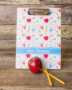 Apples and Scissors Teacher Acrylic Clipboard by ShelbyAnnGifts