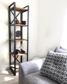 Hiba solid joined walnut and steel column unit , natural, La Redoute Interieurs Oak Shelves, Mid-century Interior, Ladder Bookcase, Industrial Furniture, Plank, Mid Century, The Unit, Living Room, San Francisco