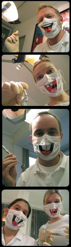 Dentists Smile Face Masks...I would not be able to stop giggling!*
