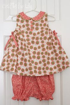 Franny baby dress. Children's corner pattern. Under arm casings with ties for adjustable fit. Crafts For Lily: Frannie Escargot