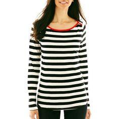 Liz Claiborne 3/4-Sleeve Striped Tee - jcpenney
