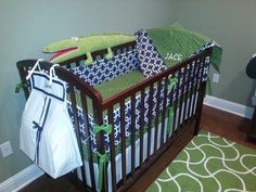 Jace's nursery in Navy and Green by MissPollysPieceGoods https://www.etsy.com/shop/MissPollysPieceGoods
