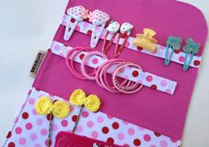 Items similar to Hair clip organizer, pink polka dot hair clip holder, easy to carry accessories & beauty organizer, folded.Girly gift idea on Etsy Hair Accessories Storage, Girls Accessories, Hair Clip Organizer, Kids Hair Clips, Cute Sewing Projects, How To Make Hair, Pink Polka Dots, Diy Beauty, Hair Pins