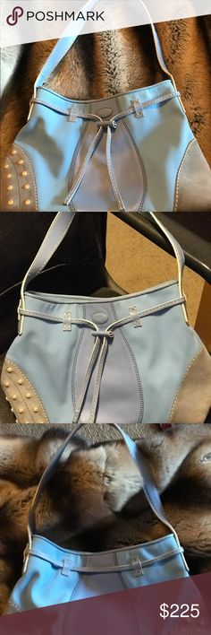 Preloved TOD'S  canvas and leather hobo This is a light blue hobo by Tod's with grey suede bottoms. The bottom suede is a little dirty. But not so noticeable. Authentic. No dust bag Tod's Bags Hobos