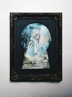 View through a lock Alice in Wonderland illustration by SalSusan