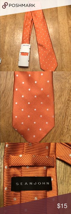 5725c273f8c4 Sean John Men s Silk Tie Orange silk tie with polka dots Silk Sean John  Accessories Ties