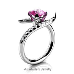 Gorgeous 14K White Gold 1.0 Ct Pink Sapphire Diamond by artmasters