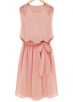 Fashion O Neck Tank Sleeveless Waist Ankle Length Chiffon Dress - Pink