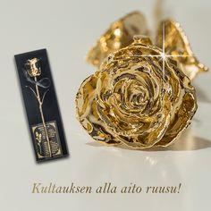#Lahjaidea kaikkiin kevään ja kesän juhliin! Kullattu ruusu, joka säilyy muistona vuodesta toiseen.  Kultauksella viimeistelty ruusu on perinteistä juhlaruusua näyttävämpi lahja. Se sopii hyvin lahjaksi rippikoululaiselle, ylioppilaalle tai merkkipäiväänsä viettävälle sekä tunnelmalliseksi lahjaksi myös hääparille. Jokainen kullattu ruusu on ainutlaatuinen, sillä sisällä on aito kukka. Earrings, Jewelry, Ear Rings, Stud Earrings, Jewlery, Jewerly, Ear Piercings, Schmuck, Jewels