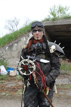 "Post-apo costume  design.  For LARP Game - ""The Trash Bands"". Genre post-apocalyptic.  Shaman of Tribe."