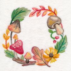 Autumn Mushroom Wreath in Watercolor design (M16070) from www.Emblibrary.com