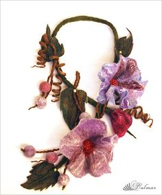 Felted Necklace Lilac Flowers   Flickr - Photo Sharing!
