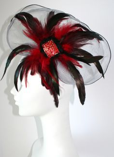 #Gothic Black & Red hair fascinator - Inspired by Claire Jane, LLC