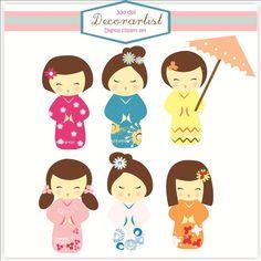 Scrapbooking kokeshi dolls | Digital clip art, Kokeshi dolls clip art, girls, instant download girl ...