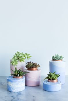 concrete planters on marble surface