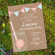 Shabby Chic Mason Jar Birthday Invitation 30th von SunshineParties