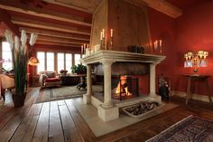 Grand fireplace at Eugenia in Klosters