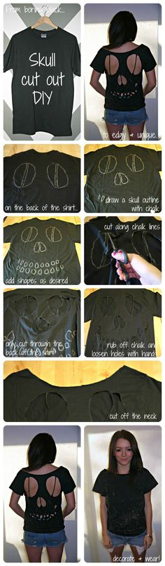 Cute for the junior high kids to wear on Halloween when they are too old to dress up at school! Skull T-shirt (Diy Ropa Facil) Diy Dress, Dress Up, Robe Diy, Cut Up Shirts, Skull Shirts, Halloween Kostüm, Cute Diys, T Shirt Diy, Diy Clothing