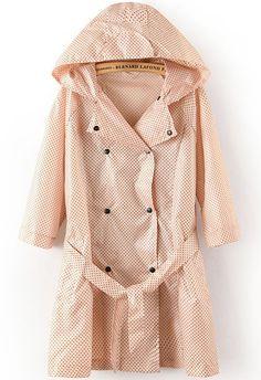 Orange Hooded Long Sleeve Polka Dot Belt Trench Coat - Sheinside.com