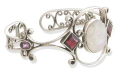 Moonstone and garnet cuff bracelet, 'Grace' NOVICA. $129.99. A fair trade product. Handmade by Neeru Goel.. Normally ships directly from India within 10 days.