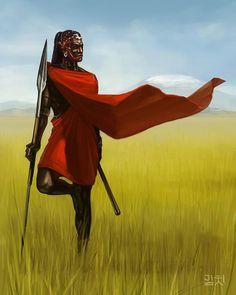 beautiful Masai warrior painting.