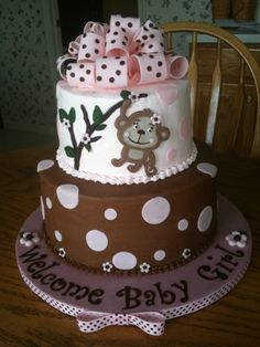 Going to attempt something like this for a friend's baby shower! Monkey Themed Baby Shower  By erin12345 on CakeCentral.com