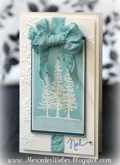 Creations by Mercedes: Aqua and white Christmas trees.  Very pretty.  Not so fond of the wrinkled bow look but that could be changed :-)