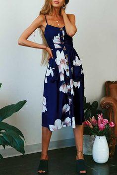 77e39a7b57 Venidress Button Down Magnolia Print Mid Calf Dress - VENI
