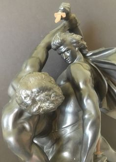 Antique P. Ipsen Terrecotta Statue 423 Kjobenhaven Nude Men Mortal Combat AP1069