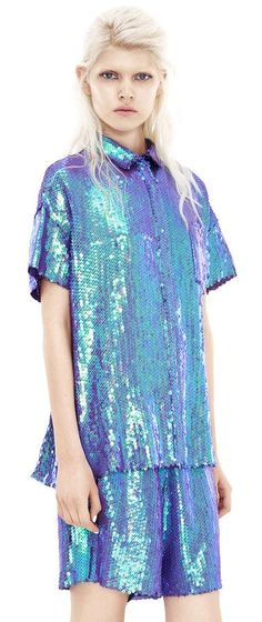 Indigo Mermaid. Sequined top and bottoms, yesss! Rogue Paillett Purple / Acne Studios