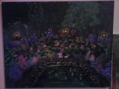 "AROUND THE FISH POOL AT NIGHT "" SOLD"""