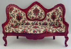 Elegant Victorian Christmas Parlor Furniture, Dollhouse miniature by Deb's Minis