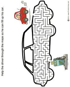 Car maze of a car going to a gas pump. Mazes For Kids Printable, Worksheets For Kids, Cookie Sheet Activities, Maze Worksheet, Transportation Activities, Fall Preschool Activities, Activity Sheets For Kids, Maze Puzzles, Busy Boxes