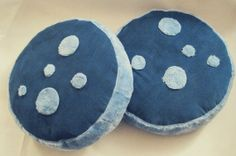 Pouf Poof Furry Blue Ottoman Floor Pillows Set of 2 by MaraJay10, $50.00