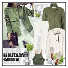 """Attention! Go Army Green♥♥♥"" by marthalux ❤ liked on Polyvore featuring The Great, H&M, Acne Studios, Rebecca Minkoff, Vivienne Westwood, Bulova, Fendi, Victoria Beckham, MilitaryStyle and militarygreen"