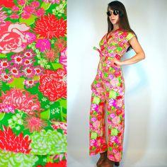 Lilly Pulitzer | Vintage 70s RARE Key West preppy Screen Print Neon floral wrap Palazzo Jumpsuit | Wide Leg boho hippie