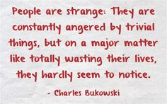 People are Strange: They are constantly angered by trivial things, but on a major matter like totally wasting their lives, they hardly seem to notice.~~Charles Bukowski