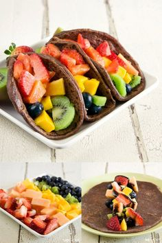 Tacos de chocolate y fruta