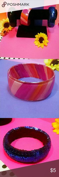 Group of Ahhmazing Bracelet Bangles Group of 3 Ahhmazing Bangle Bracelets. The Royal Blue and Black Bracelets are Sequins! In Good Condition. Great Attention Grabbers.Beautiful and Fashionable! True Conversational Items! Jewelry Bracelets