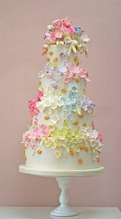 pastel colour wedding cake.