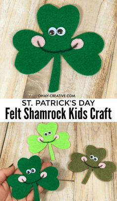 Felt Shamrock Crafts for preschoolers and young kids. Work on shapes, colors, cutting and counting with this cute St. Patrick's Day craft created from felt. St Patricks Day Crafts For Kids, St Patrick's Day Crafts, Holiday Crafts, Holiday Ideas, Crafts For Seniors, Crafts For Kids To Make, Crafts For Teens, Toddler Crafts, Preschool Crafts