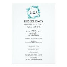 #Blue Watercolor Floral Wreath Wedding Program - #weddinginvitations #wedding #invitations #party #card #cards #invitation #floral
