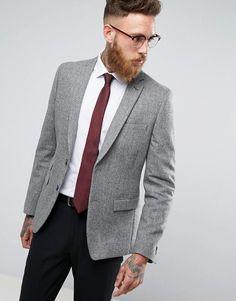 MOSS BROS Moss London Skinny Blazer In Gray Tweed