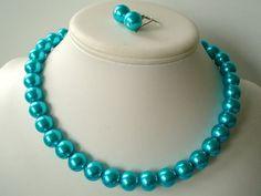 Chunky Dark Tiffany Blue Glass Pearl by delicatecreationsbym