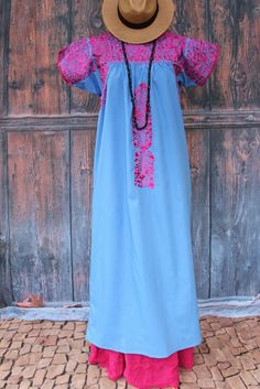 Periwinkle Blue & Raspberry Mexico San Antonio Wedding Dress Boho Santa Fe Style #Handmade #MexicanDress